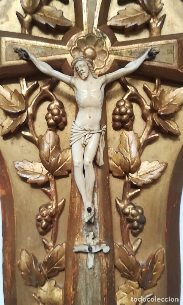 Antigüedades: Precioso crucifijo Cristo marfil siglo XIX, Cruz. - Foto 2 - 265517759