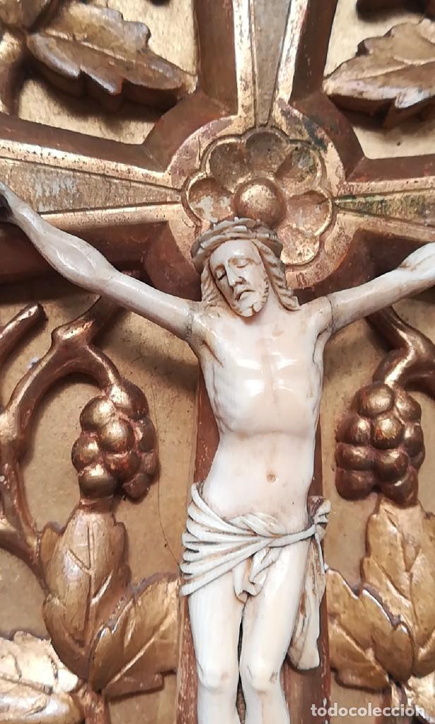 Antigüedades: Precioso crucifijo Cristo marfil siglo XIX, Cruz. - Foto 4 - 265517759