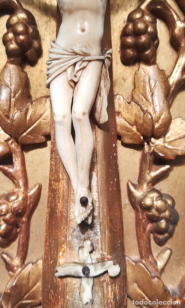 Antigüedades: Precioso crucifijo Cristo marfil siglo XIX, Cruz. - Foto 5 - 265517759