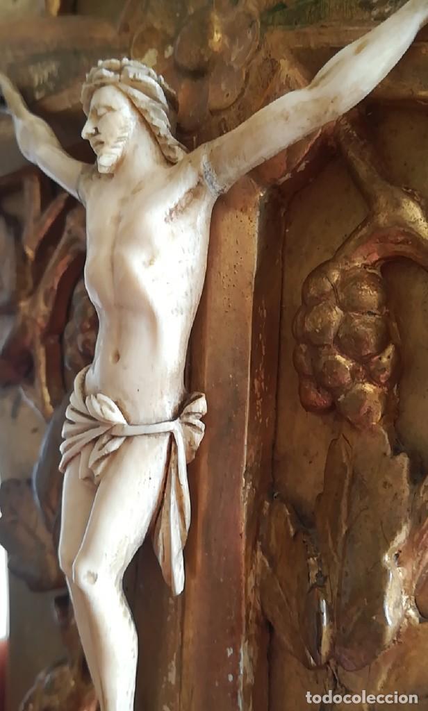 Antigüedades: Precioso crucifijo Cristo marfil siglo XIX, Cruz. - Foto 6 - 265517759