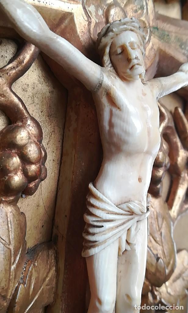 Antigüedades: Precioso crucifijo Cristo marfil siglo XIX, Cruz. - Foto 7 - 265517759
