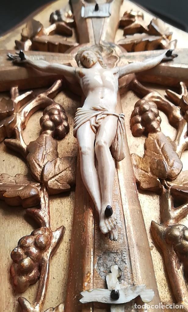 Antigüedades: Precioso crucifijo Cristo marfil siglo XIX, Cruz. - Foto 12 - 265517759