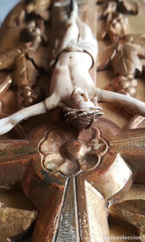 Antigüedades: Precioso crucifijo Cristo marfil siglo XIX, Cruz. - Foto 14 - 265517759