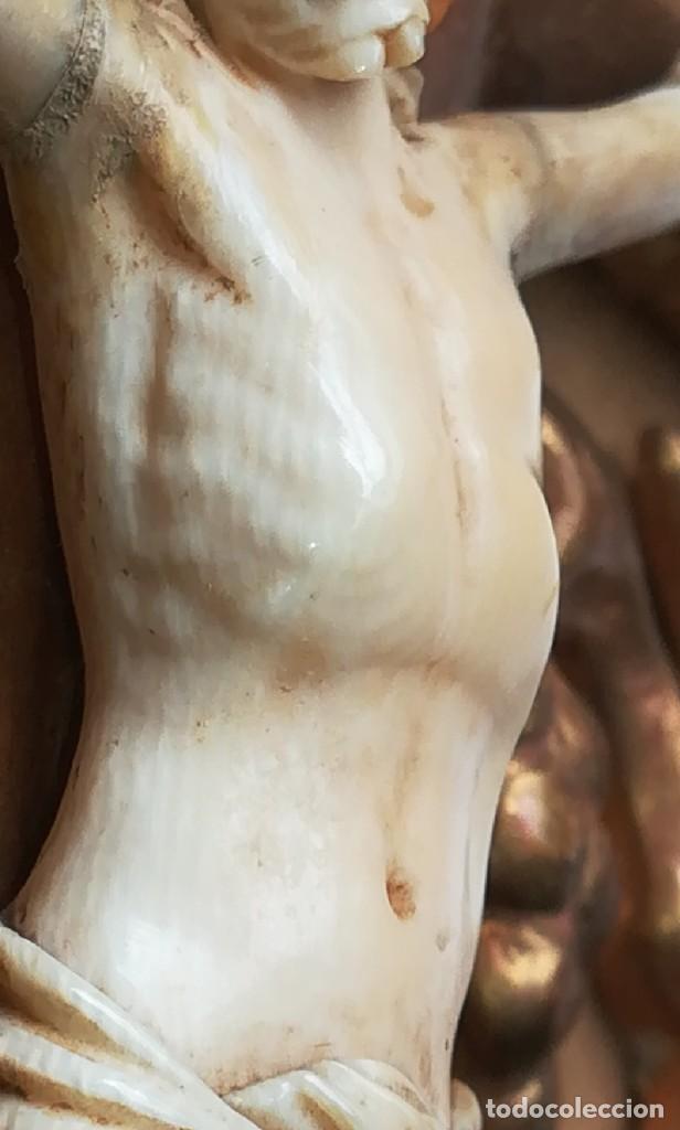 Antigüedades: Precioso crucifijo Cristo marfil siglo XIX, Cruz. - Foto 16 - 265517759