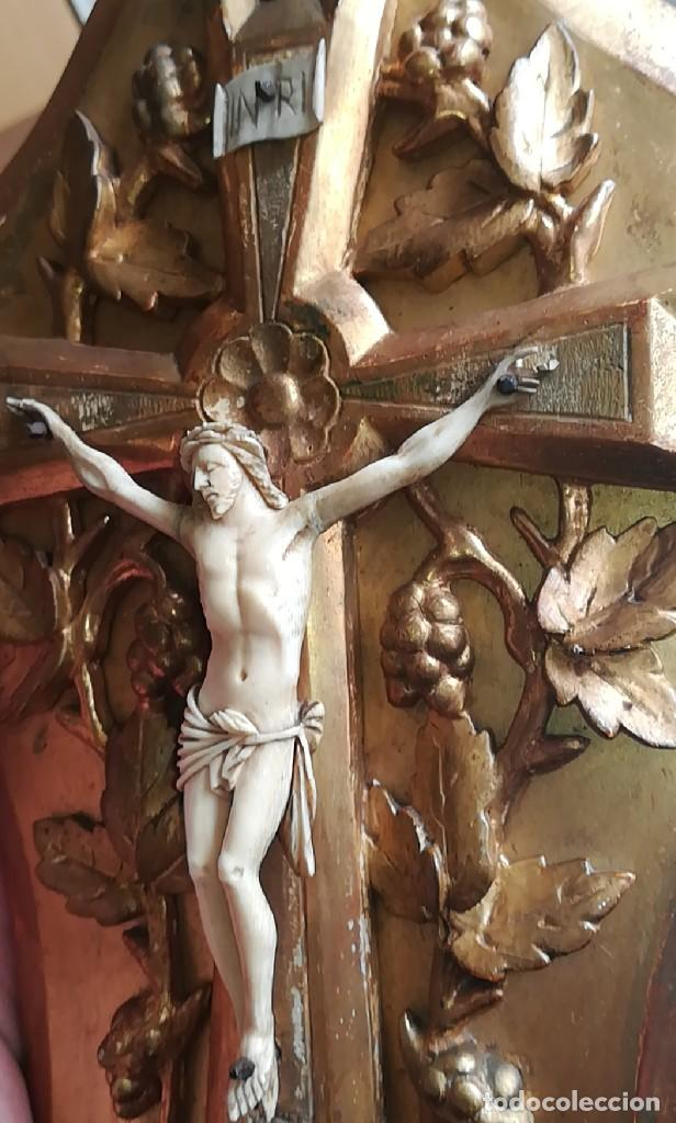 Antigüedades: Precioso crucifijo Cristo marfil siglo XIX, Cruz. - Foto 21 - 265517759
