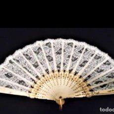 Antigüedades: ANTIGUO ABANICO CALADO CON VARILLAJE EN HUESO. Lote 265534189
