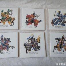 Antigüedades: CONJUNTO DE 6 AZULEJOS CABALLOS MEDIEVALES DE AZULEJOS LA PALOMA ALCORA 15 X 15 CM. Lote 265680409