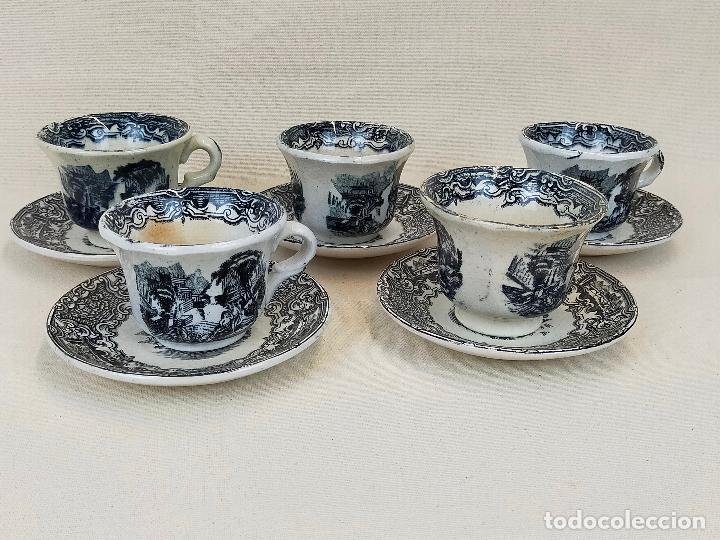 Antigüedades: antiguo juego de cafe de 6 tazas y seis platos, sellados pickman - Foto 2 - 265681414