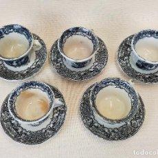 Antigüedades: ANTIGUO JUEGO DE CAFE DE 6 TAZAS Y SEIS PLATOS, SELLADOS PICKMAN. Lote 265681414