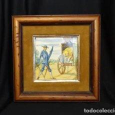 Antigüedades: CUADRO CON AZULEJO ESCENA QUIJOTE Y EL LEÓN.ONDA.CASTELLON. Lote 265695659