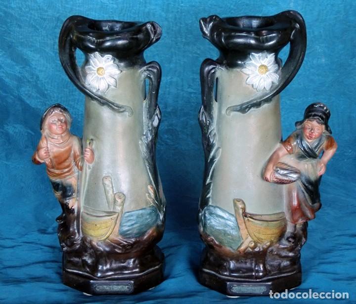 Antigüedades: ANTIGUA Y PRECIOSA PAREJA DE FLOREROS MODERNISTAS - NUMERADOS - JARRONES ART NOUVEAU - FRANCESES - Foto 5 - 265802304