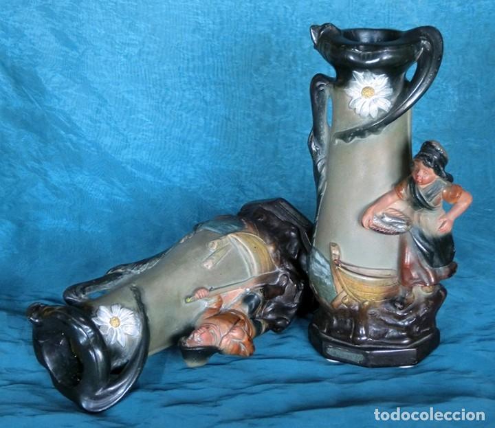 Antigüedades: ANTIGUA Y PRECIOSA PAREJA DE FLOREROS MODERNISTAS - NUMERADOS - JARRONES ART NOUVEAU - FRANCESES - Foto 24 - 265802304