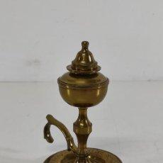 Antigüedades: LÁMPARA DE ACEITE, CANDIL, VELÓN - BRONCE - CON TAPÓN - S. XIX. Lote 265817974