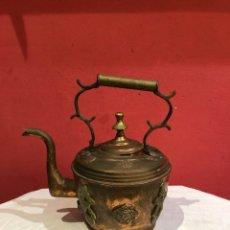 Antigüedades: ANTIGUA TETERA DE BRONCE Y COBRE .. Lote 265913233