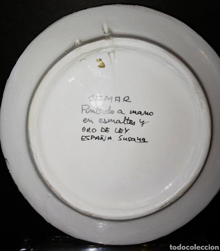 Antigüedades: PLATO DE CERAMICA - CEMAR - ARTECER TRIANA SEVILLA - ORO DE 24K Y ESMALTES - - Foto 6 - 265986608