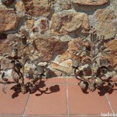 Antigüedades: PAREJA DE APLIQUES DE METAL - HOJAS Y RAMAS - LÁMPARAS - AÑOS 40-50. Lote 265986888