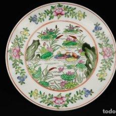Antigüedades: ANTIGUO PLATO DE PORCELANA CHINO FIRMADO. Lote 265998843