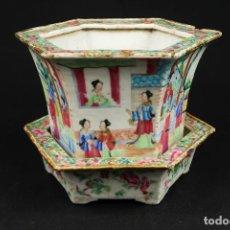 Antigüedades: ANTIGUA JARDINERA DE PORCELANA CHINA FAMILIA ROSA CANTON. Lote 265999633