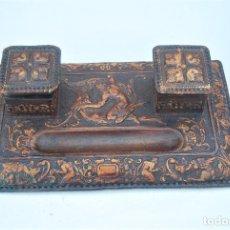Antigüedades: ACCESORIOS DE CUERO REPUJADO.. Lote 266148013
