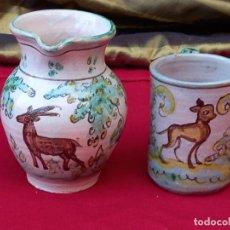 Antigüedades: LOTE DE DOS CERAMICAS ANTIGUAS DE PUENTE DEL ARZOBISPO ( TOLEDO ). Lote 266160408