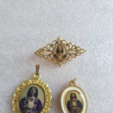 Antigüedades: CONJUNTO DE ANTIGUAS MEDALLAS Y BROCHE. JESÚS DE MEDINACELI. Lote 266310353
