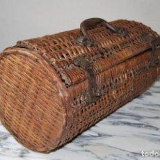 Antigüedades: BOLSO DE MIMBRE Y METAL - PICNIC - PLAYA - MALETA - MALETÍN - PRIMERA MITAD S.XX. Lote 266325808