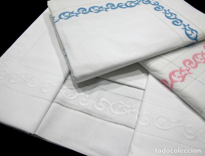 Antigüedades: Juego para cama individual.Algodon BLANCO.Preciosos bordados.180x270 cm 2 piezas.Nuevo - Foto 2 - 222079277