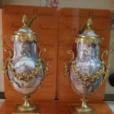 Antigüedades: PAREJA DE GRANDES COPAS DE MÁRMOL ROSA Y BRONCE FIRMADAS, SIGLO XIX. Lote 266397298