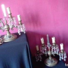 Antigüedades: CANDELABROS DE BRONCE CON LAGRIMAS. Lote 266399718