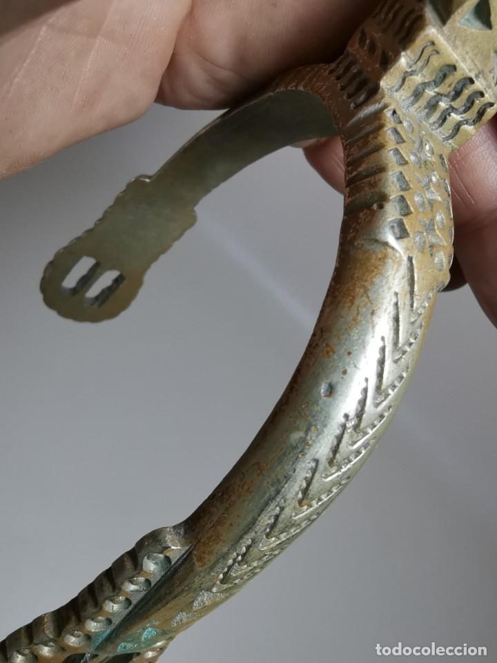 Antigüedades: ANTIGUAS ESPUELAS DE GALA EN BRONCE Y RULINA DE HIERRO FORJADO..P.P.S.XX- SUDAMERICA - Foto 25 - 266506918