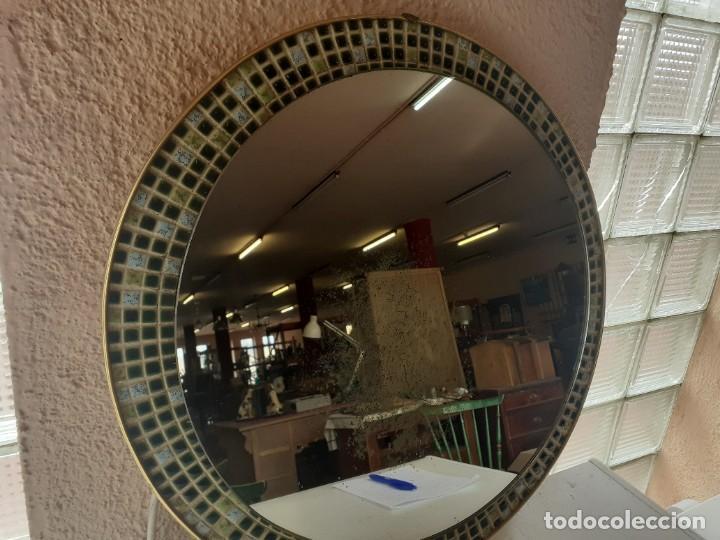 ESPEJO LATÓN ESMALTE DIAMETRO 52 (Antigüedades - Muebles Antiguos - Espejos Antiguos)