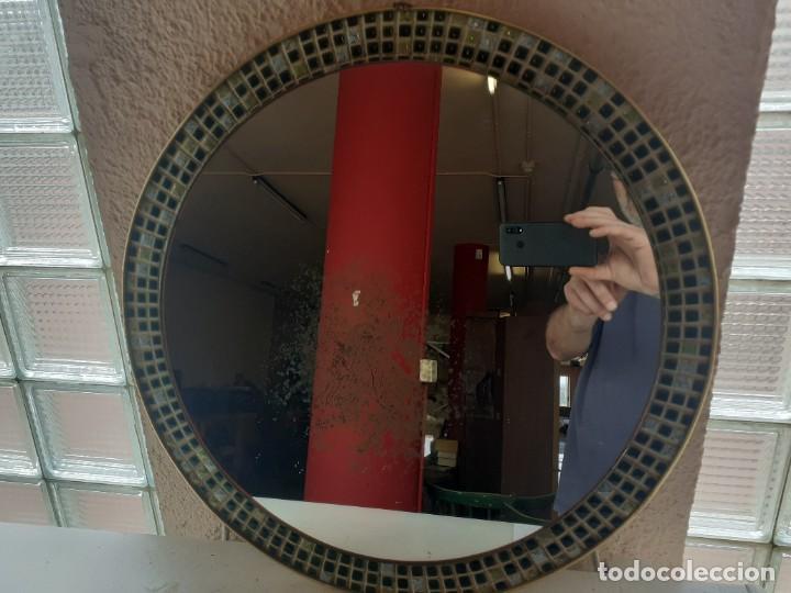 Antigüedades: Espejo latón esmalte diametro 52 - Foto 2 - 266519458