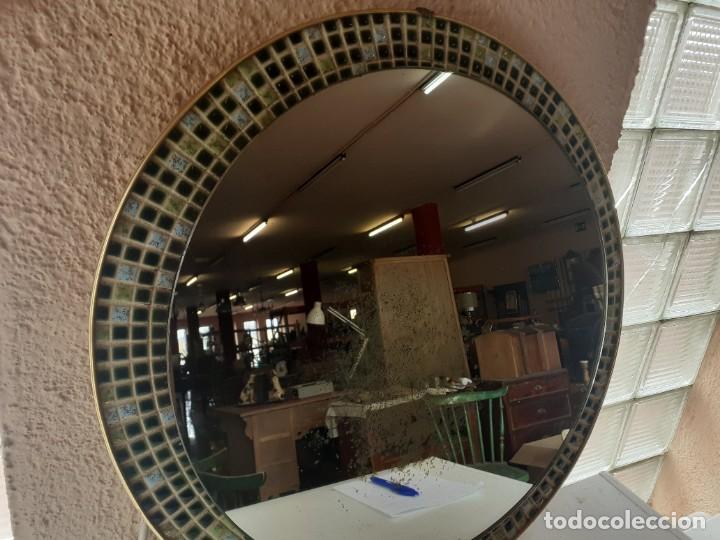 Antigüedades: Espejo latón esmalte diametro 52 - Foto 3 - 266519458