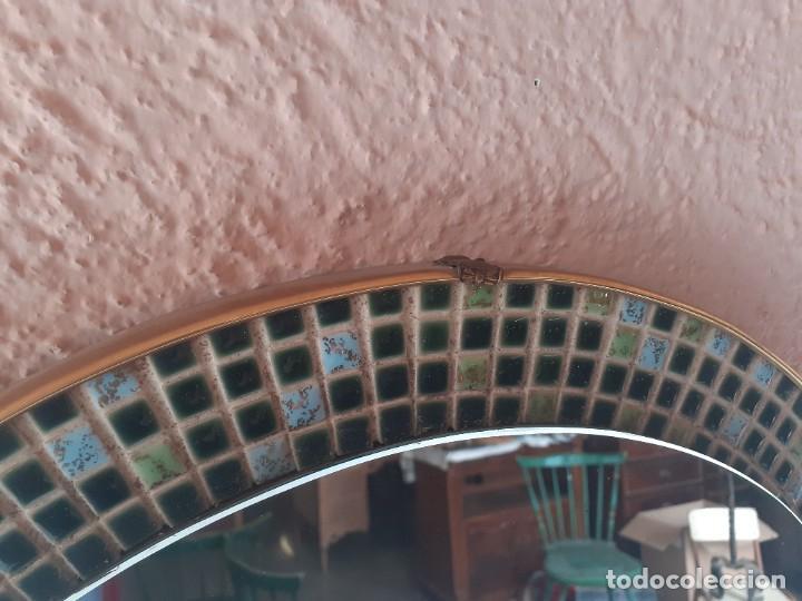 Antigüedades: Espejo latón esmalte diametro 52 - Foto 5 - 266519458