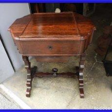 Antigüedades: PRECIOSO COSTURERO ANTIGUO DE MADERA DE PALISANDRO S. XIX. Lote 266560683