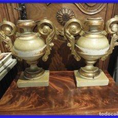 Antiquités: PAREJA DE COPAS ANTIGUAS DE MADERA DORADA. Lote 266561033