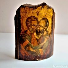 Antiguidades: GRABADO RELIGIOSO SOBRE TEJA DE BARRO - 15 X 11.CM. Lote 266573878