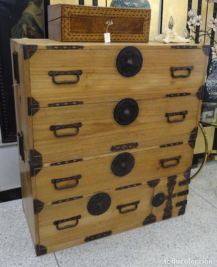 Antigüedades: Tansu antiguo japonés en madera de kiri - Foto 3 - 266580403