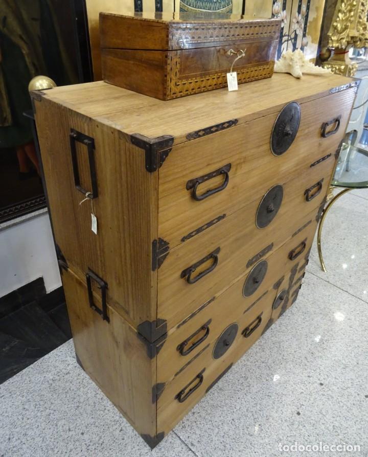 Antigüedades: Tansu antiguo japonés en madera de kiri - Foto 6 - 266580403
