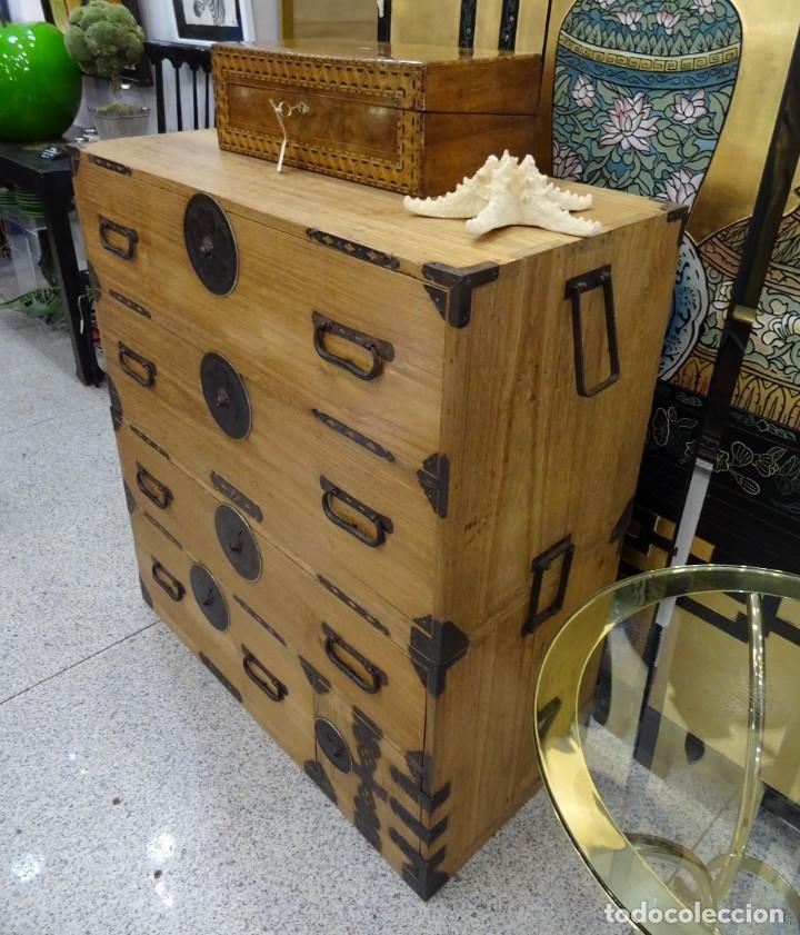 Antigüedades: Tansu antiguo japonés en madera de kiri - Foto 7 - 266580403