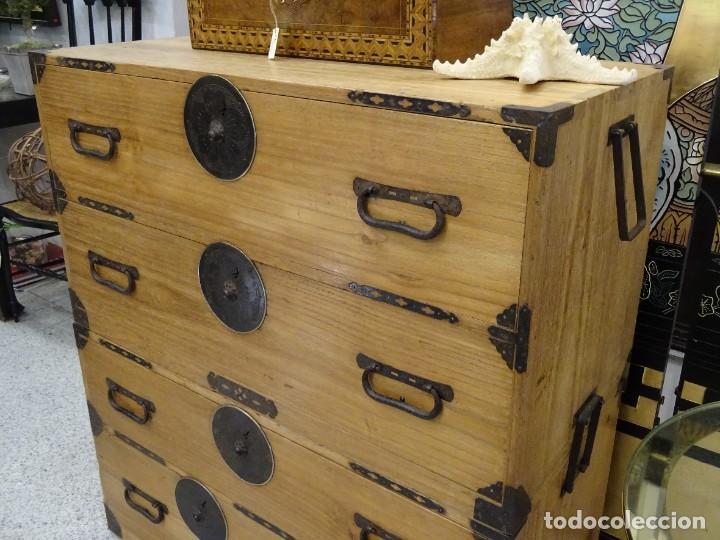 Antigüedades: Tansu antiguo japonés en madera de kiri - Foto 8 - 266580403