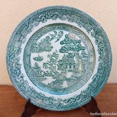 Antigüedades: GRAN PLATO DE PORCELANA DE SAN JUAN, MUY ESCASO EN COLOR VERDE. MIDEN 25 CM.. Lote 266655373