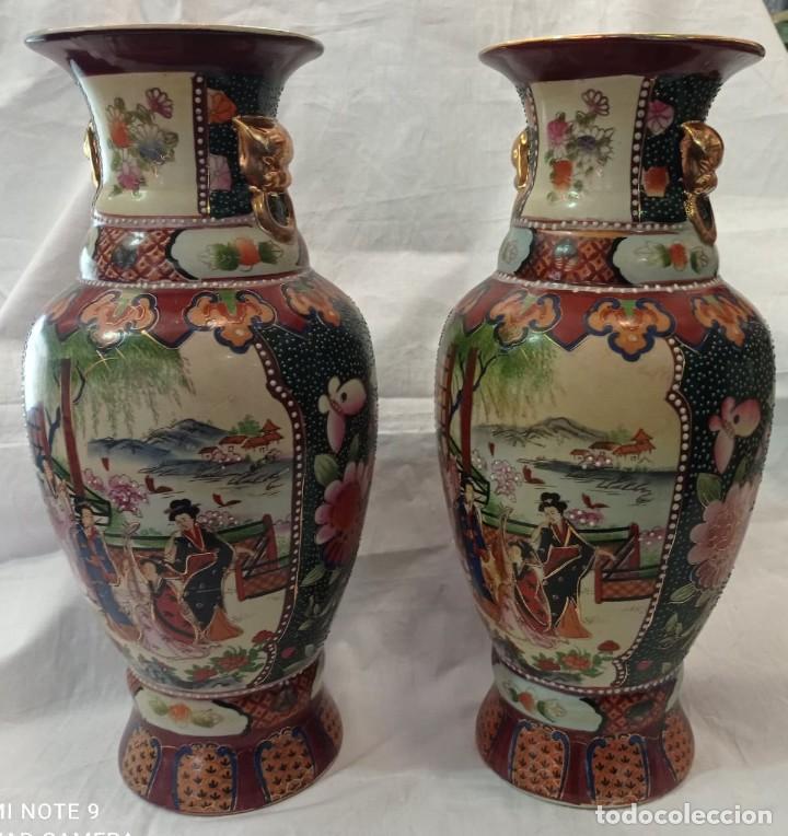 PAREJA JARRONES CHINOS SELLO ROJO (Antigüedades - Porcelanas y Cerámicas - China)