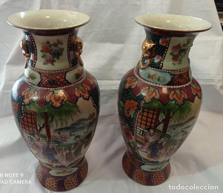 Antigüedades: PAREJA JARRONES CHINOS SELLO ROJO - Foto 2 - 266779914