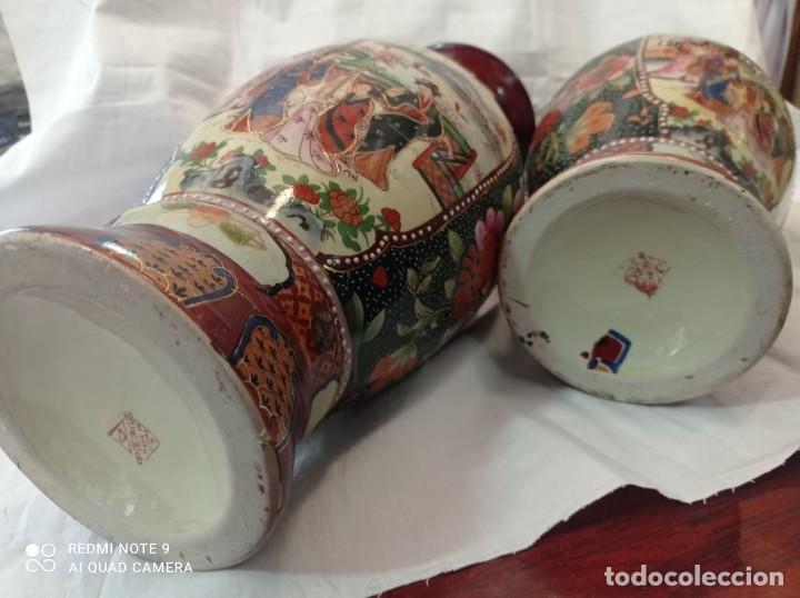 Antigüedades: PAREJA JARRONES CHINOS SELLO ROJO - Foto 3 - 266779914
