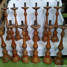 Antigüedades: EXCEPCIONAL CONJUNTO 12 CANDELABROS IGLESIA POLICROMADOS. Lote 266804869