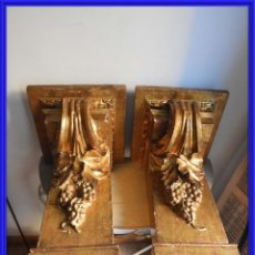 Antigüedades: MAGNIFICAS MENSULAS ANTIGUAS DE MADERA DORADA S. XVIII. Lote 266905289
