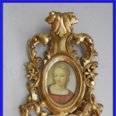Antigüedades: CORNUCOPIA DE MADERA DORADA CON IMAGEN DE LA VIRGEN. Lote 266905599