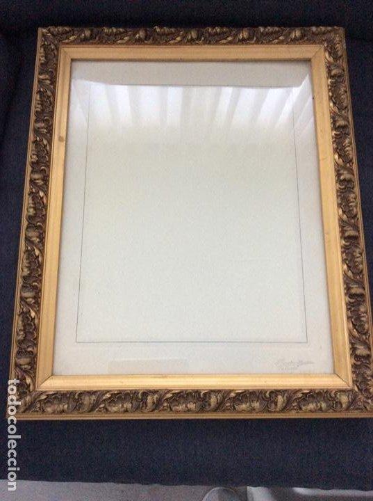 Antigüedades: Impresionante y antiguo marco de madera tallada y dorada para fofografia/espejo. - Foto 4 - 266909754