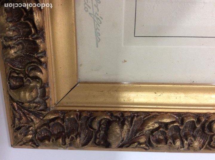 Antigüedades: Impresionante y antiguo marco de madera tallada y dorada para fofografia/espejo. - Foto 8 - 266909754